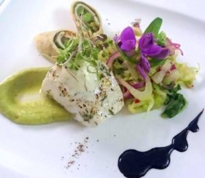 Grilled Kingklip, Avocado Puree, Fennel Salad, Spring Onion & Hoisin Crepe