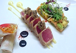 Tuna, Avocado, Papaya & Cucumber Salad, Pepper Springroll